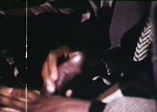 Old fashioned porno shows interracial lob fucking after a show