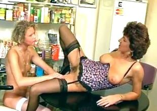 Sex-mad mature brunette and young slutty part2