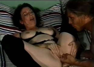 Horny granny is eager to take the maturing stud's flannel deep in her pest