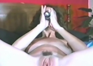 Vintage dildo fucking with a nasty brunette join in matrimony