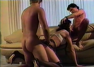 Mature spread out has two hung studs hammering her holes in one go
