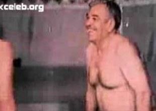 Arab geezer watches a hot dark-haired strip