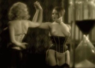 Vintage lezdom videotape with two curvy babes