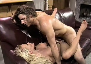 With her sexy feet and her hot lips, a unrestrained blonde gets a chunky shaft well-prepped be decent of skit