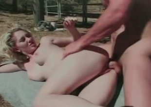 Alluring light-haired babe with fat gut bends part4