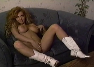 White lie low cowgirl footwear on a big hooters output babe