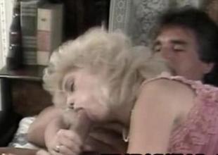 Barbi Dahl  Busty Ash-blonde Woman Riding An Venerable Dick