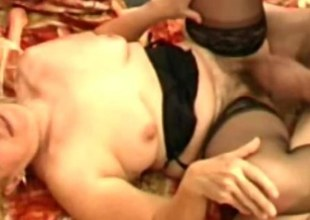 Reproachful queasy granny Elisabete wants a man-meat