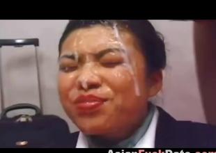 Unsightly Japanese girl gets gang facial cumshot