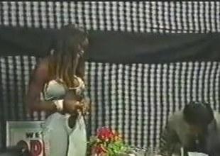 Ebony Slut Shafting About An Office Flashed
