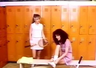Wooly Retro Threesome in a locker parade-ground
