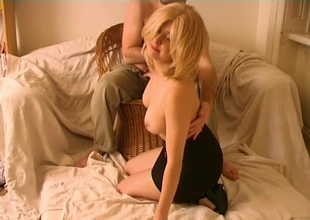 Blonde spunk swallowing girlfriend with adorable tits goes down